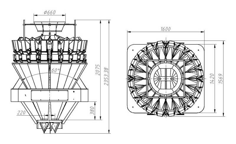 20 Heads Standard Multihead Weigher (Mixing mode / High Speed mode) 1.6/2.5L