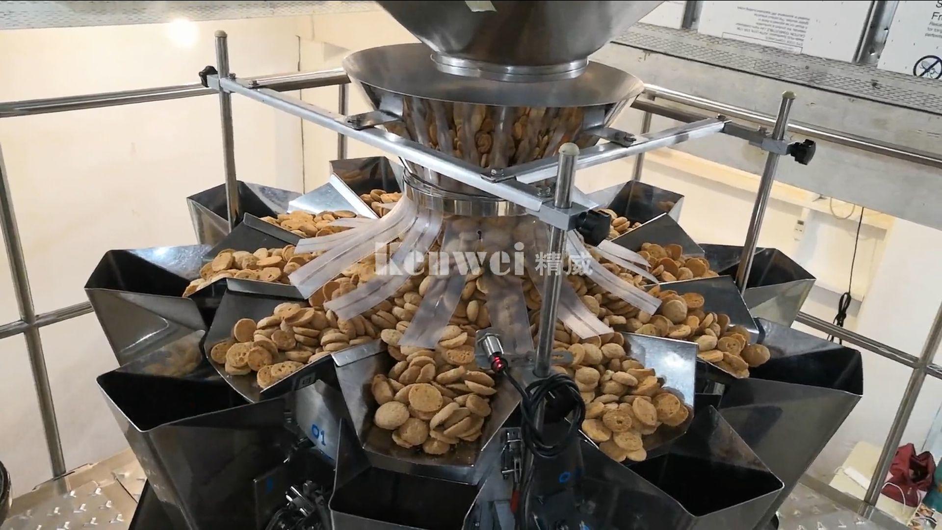 Sistema de balanzas y envasado de galletas con 10 cabezales de balanzas multicabezal estándar