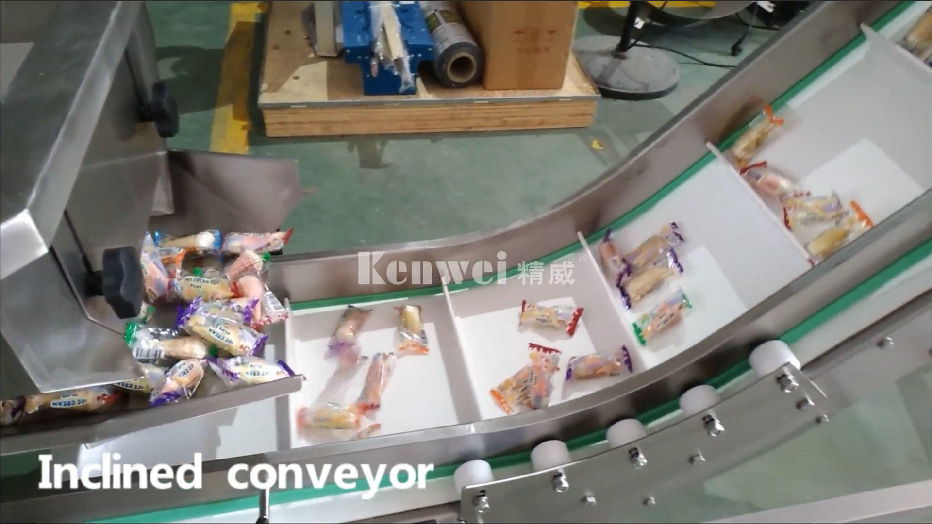 Inclined conveyor in packaging system