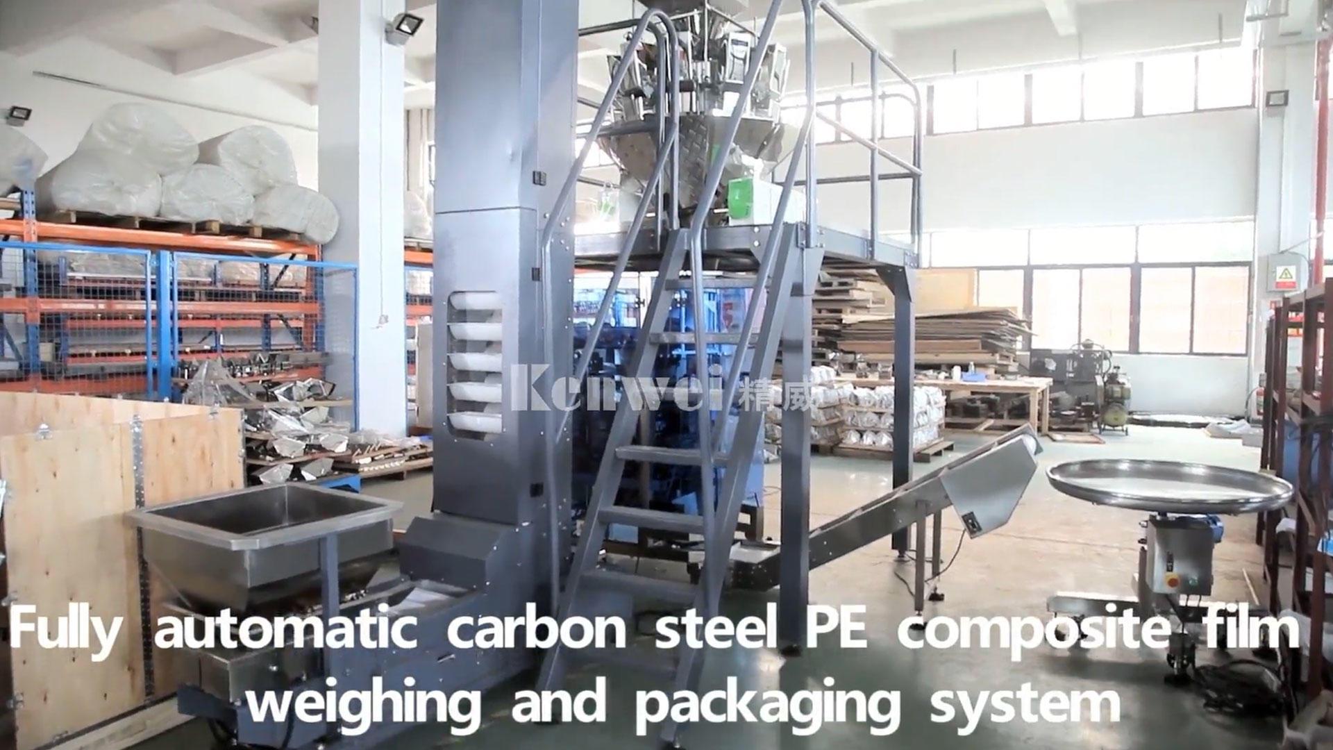 Sistema automático de balanzas y embalaje de película compuesta de película de acero al carbono PE