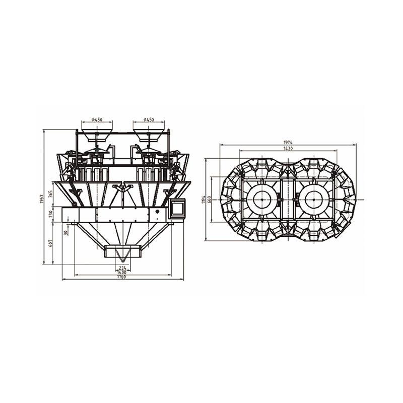 Pesadora multicabezal de 20 cabezales con dos salidas 1.6L / 2.5L