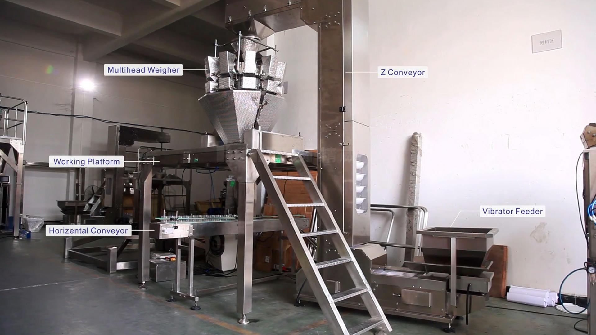 Máquina de embalaje automática para gomas de 10 cabezas de queso equipo de llenado de pesaje multicabezal