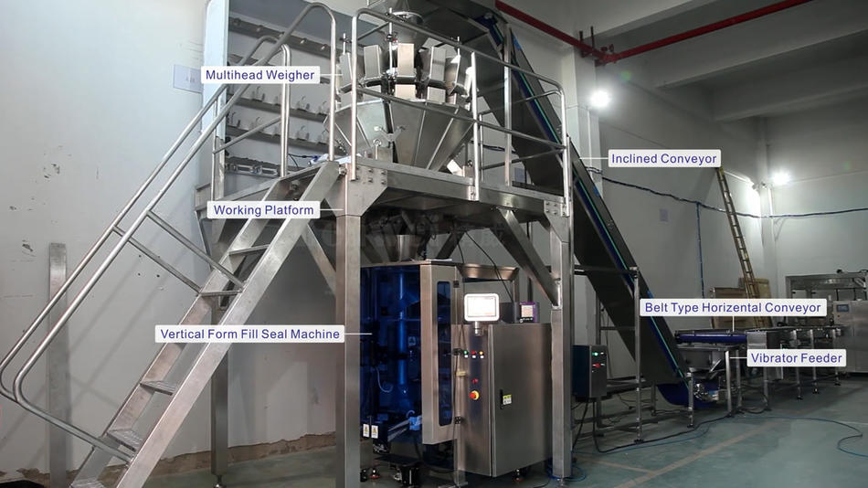 Vertical weighing and packaging machine with inclined conveyor