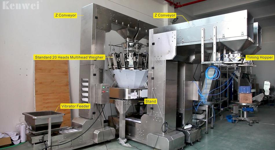 Two channel conveying system for weighing small granule