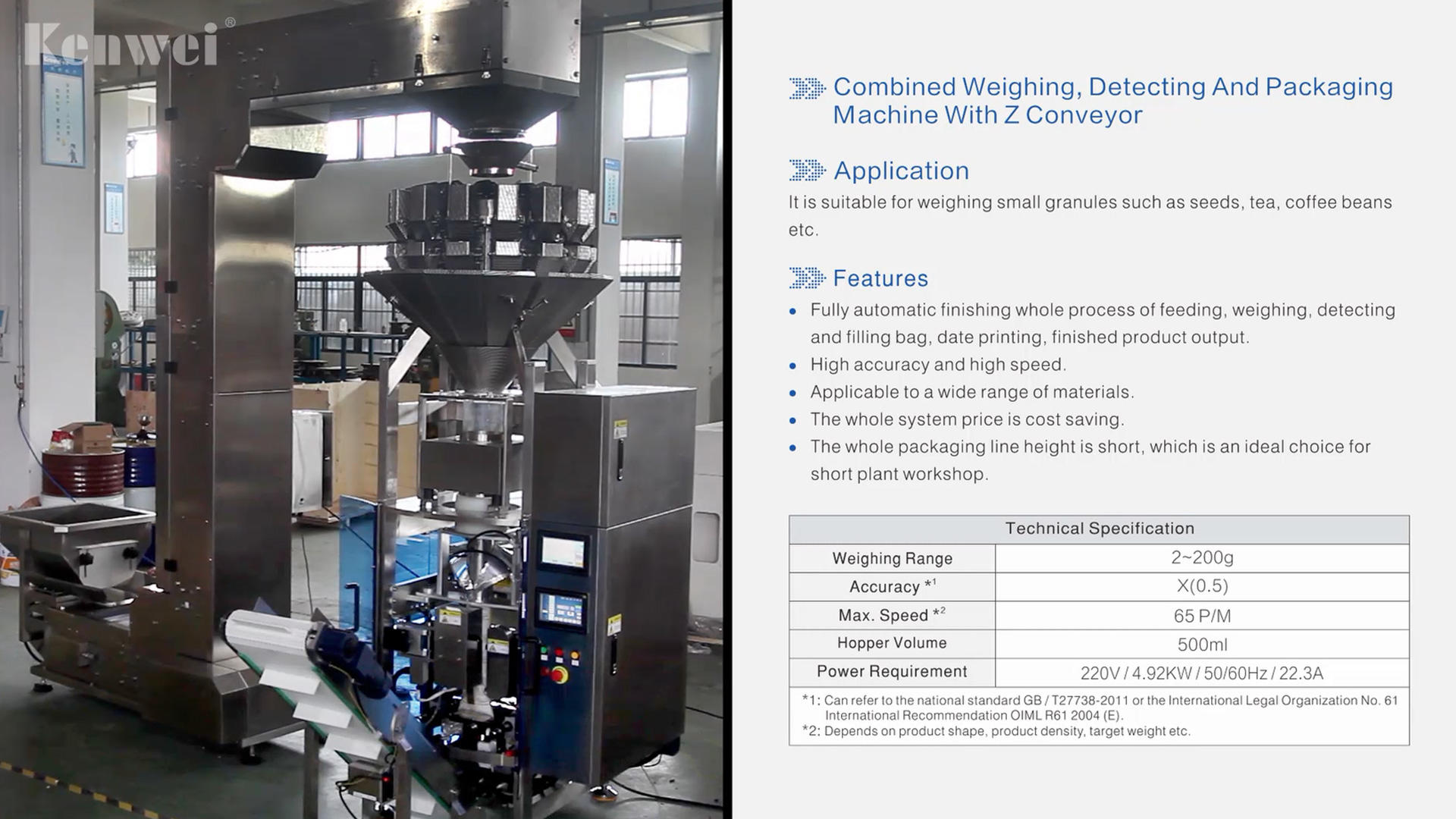 Combined weighing,detecting and packaging machine with Z conveyor